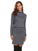 Gray Turtleneck Bodycon Dress with Pocket