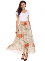 Camel Elastic Waist Floral Print Casual Chiffon Skirts