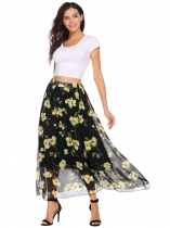 Black yellow Elastic Waist Floral Print Casual Chiffon Skirts