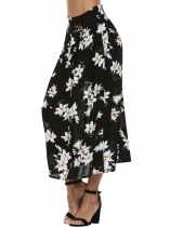 Black Printed Elastic High Waist Maxi Skirt