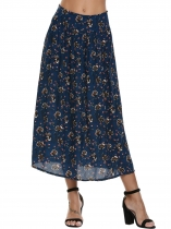 Blue Printed Elastic High Waist Maxi Skirt