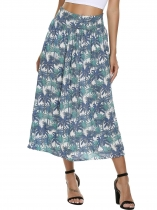 Printed Elastic High Waist Maxi Skirt