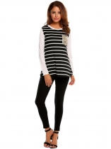 Black Women O-Neck Long Sleeve Striped Sequins T-Shirt