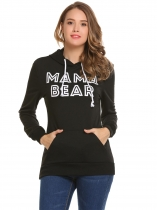 Black Long Sleeve Letter Thicken Loose Hoodie