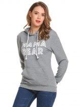 Grey Long Sleeve Letter Thicken Loose Hoodie