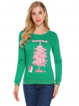 Verde Mulheres Casual O-Neck Long Sleeve Prints Thread Hem and Cuffs Regular Fit Christmas Sweatshirt