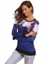 Blue Long Sleeve Printed Pullover Loose Leisure Sweatshirts
