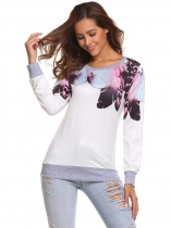 White Long Sleeve Printed Pullover Loose Leisure Sweatshirts