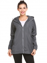 Grey Women Casual Hooded Drawstring Long Sleeve Elastic Cuffs and Hem Solid Sport Outwear