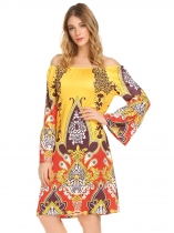 Yellow Women Off Shoulder Flare Sleeve Print Casual Loose Fit A-Line Dress