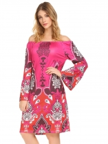 Rose Red Mulheres Off Shoulder Flare Sleeve Print Casual Loose Fit A-Line Dress