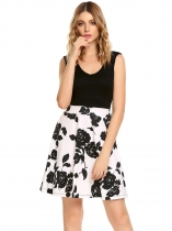 Black/White Femmes V-Neck Sleeveles Floral Patchwork A-line Robe courte