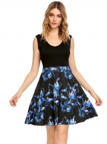 Black/Blue V-Neck Sleeveles Floral Patchwork Dress