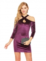 Purple Mujeres Cross Halter hombro frío 3/4 mangas Keyhole Velvet Bodycon Pencil Dress