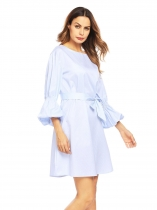 Light blue Women Boat Neck Lantern Sleeve Striped Casual Loose Fit Casual Dress