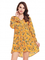 Jaune Femmes V Neck Flare Sleeve Floral De Dentelle Décontractée Loose Fit Empire Waist Dress