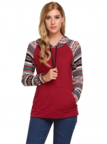 Wine red Women Casual Drawstring Long Sleeve Patchwork Pullover Hoodie with Pocket