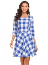 Blue Women Casual O-Neck 3/4 Sleeve Plaids A-Line Pleated Sexy Dress