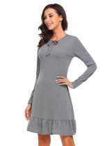 Grey Women Casual O-Neck Long Sleeve Solid Bow Tie Ruffle Hem Pullover Loose Dress