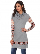 Grey Ruched Cowl Neck Print Long Sleeve Patchwork Sweatshirt