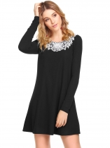 Black Long Sleeve Applique Short Dress
