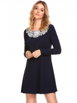 Navy blue Long Sleeve Applique Short Dress