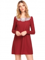 Wine red Long Sleeve Applique Short Dress