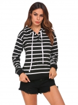 Black Women Long Sleeve Striped Cotton Pullover Sports Hoodie