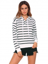 White Women Long Sleeve Striped Cotton Pullover Sports Hoodie