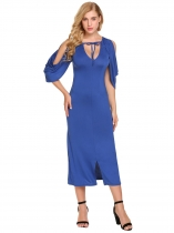 Blue Women Sexy V-Neck Cape Sleeve Party Midi Dress