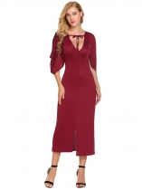 Red Women Sexy V-Neck Cape Sleeve Party Midi Dress