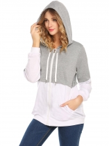 Gray Mulheres Casual Long Sleeve Contraste Color Patchwork Zip-up Hoodies