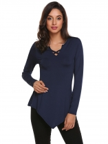 Navy blue Women Fashion Front Cross Irregular Hem Long Sleeve Solid T-Shirt