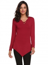 Wine red Women Fashion Front Cross Irregular Hem Long Sleeve Solid T-Shirt