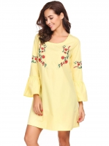 Jaune Femmes Mode O Neck manches longues trompette Broderie Loose Straight Dress