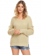 Bege Mulheres Casual Luva longa V Neck Solid Loose Fit Knit Pullover Sweater Tops