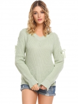 Mulheres verdes Casual manga comprida V Neck Solid Loose Fit Knit Pullover Sweater Tops