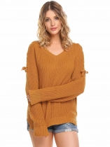 Orange Women Casual Long Sleeve V Neck Solid Loose Fit Knit Pullover Sweater Tops