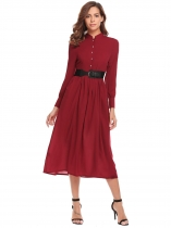 Wine red Vinho Rouge Mode Femmes Mock Neck Long Lantern Sleeve Robe à bout plein en vrac