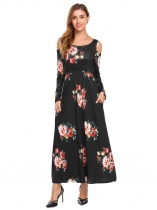 Black Women Round Neck Cold Shoulder Long Sleeve Floral Printed Slim Waist Maxi Dress