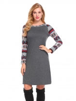 Grey Women Casual O Neck Long Sleeve Printed Patchwork Loose Straight Dress