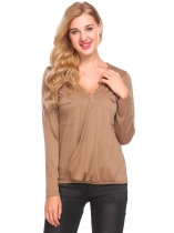 Coffee V-Neck Cross Front Long Sleeve Faux Wrap Elastic Hem Pullover Blouse Tops