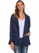 Dark blue Hooded Long Sleeve Lightweight Jacket Windbreaker Coat