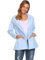 Light blue Hooded Long Sleeve Lightweight Jacket Windbreaker Coat