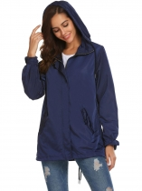 Dark blue Women Hooded Long Sleeve Front-Zip Lightweight Coat