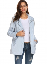 Light blue Women Hooded Long Sleeve Front-Zip Lightweight Coat