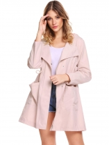 Pink Women Casual Hooded Long Sleeve Zip-up Trench Jacket with Pockets