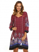 Rouge foncé Femmes Boho Style 3/4 Sleeve Lace Patchwork Print Casual Loose Shift Dress