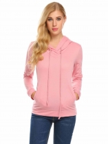 Pink Women Casual Drawstring Hooded Long Sleeve Pocket Patchwork Pullover Sexy Hoodie