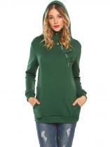 Dark green Women Casual Solid Half Zip Pullover Long Sleeve Hoodie with Pockets